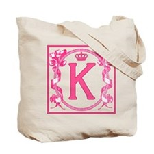 Letter K Fuchsia Ribbons Monogram Tote Bag