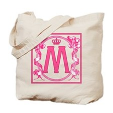 Letter M Fuchsia Ribbons Monogram Tote Bag