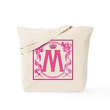 Letter M Fuchsia Ribbons Monogram Tote Bag