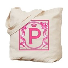 Letter P Fuchsia Ribbons Monogram Tote Bag