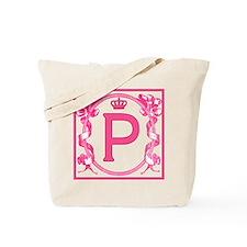 Letter P Fuchsia Ribbons Monogram Tote Bag
