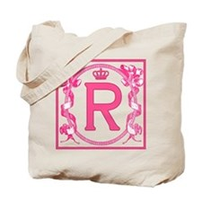 Initial R Fuchsia Ribbons Monogram Tote Bag