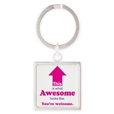 Awesome_pink Square Keychain