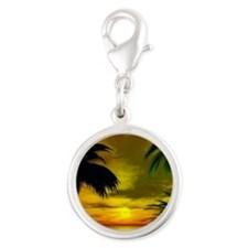 Tropical sunset Silver Round Charm