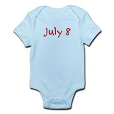 """July 8"" printed on a Infant Bodysuit"