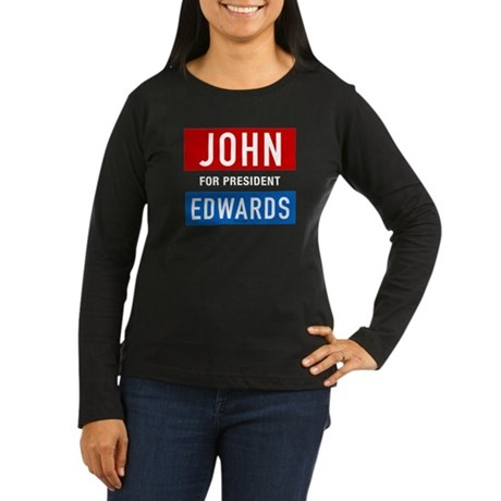 John Edwards Classic Womens Long Sleeve Black Tee