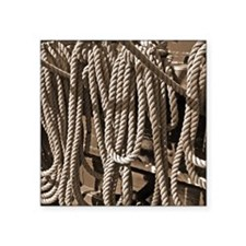 "ropes for the rigging SEPIA Square Sticker 3"" x 3"""