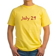 """July 29"" printed on a T"