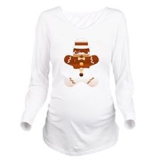 Mustache Gingerbread Long Sleeve Maternity T-Shirt