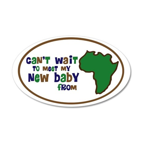 cant wait to meet my new bab 35x21 Oval Wall Decal