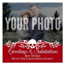Skull Custom Photo Cards Holiday Red