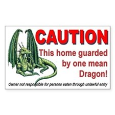 """Dragon Caution"" Rectangle Decal"