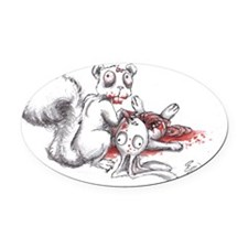 Zombie Squirrel Oval Car Magnet