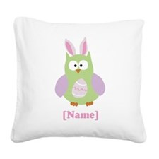 Personalized Easter Owl Square Canvas Pillow