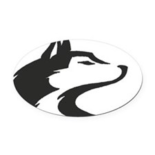 White Husky tag Oval Car Magnet