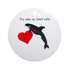 Personalized Whale Valentine Ornament (Round)