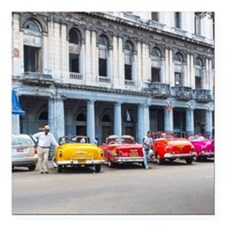 "Cars of Havana Square Car Magnet 3"" x 3"""