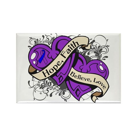 Rheumatoid Arthritis Hope Hearts Rectangle Magnet