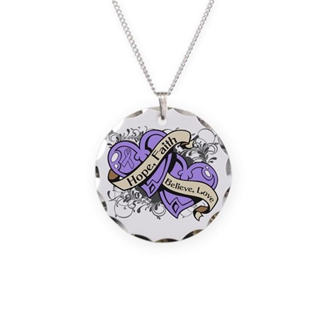 Rett Syndrome Hope Hearts Necklace Circle Charm