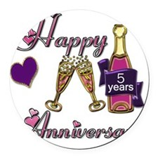 Anniversary pink and purple 5 Round Car Magnet