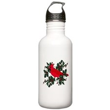 Holly Berries & Red Cardinals Water Bottle