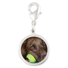 0 cover my puppy copy Silver Round Charm