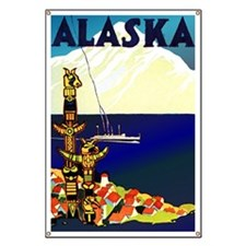 Vintage Travel Poster for Alaska Banner