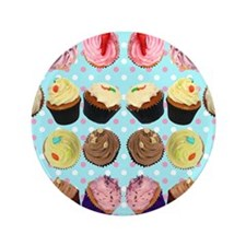 "CupcakesPolkaDotMouseMat 3.5"" Button"