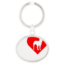 Bullterrier-Dark Oval Keychain
