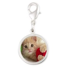 Yarn Kitty mousepad Silver Round Charm