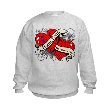 Pulmonary Fibrosis Hope Hearts Kids Sweatshirt