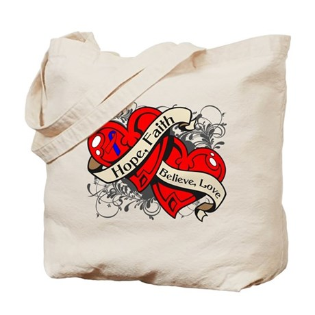 Pulmonary Fibrosis Hope Hearts Tote Bag