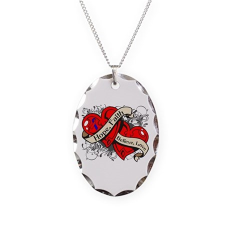 Pulmonary Fibrosis Hope Hearts Necklace Oval Charm