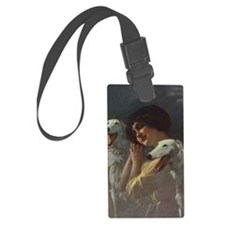 Lady And Borzoi Luggage Tag