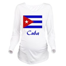2-Cuba Flag Long Sleeve Maternity T-Shirt