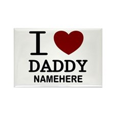 Personalized Name I Heart Daddy Rectangle Magnet (