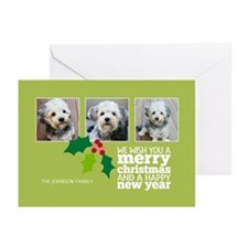 Add 3 Photos Christmas Greeting Cards