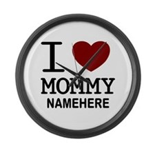 Personalized Name I Heart Mommy Large Wall Clock