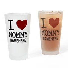 Personalized Name I Heart Mommy Drinking Glass