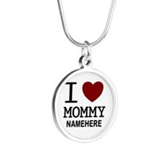 Personalized Name I Heart Mommy Silver Round Neckl