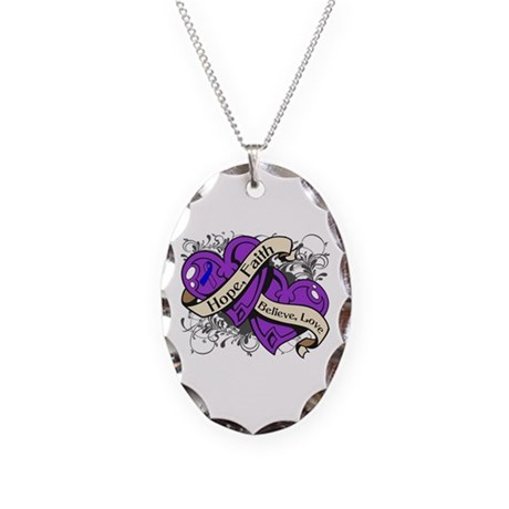 Pediatric Stroke Hope Hearts Necklace Oval Charm