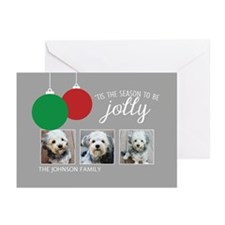 Add 3 Photos Jolly Ornaments Greeting Cards