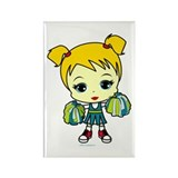 Blonde Cheerleader Rectangle Magnet