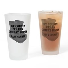 Navy Cousin Combat Boots Drinking Glass
