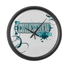 CORKSCREW SHIRT V2 TRANS Large Wall Clock