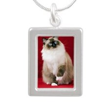 MaddieOval Ornament Silver Portrait Necklace