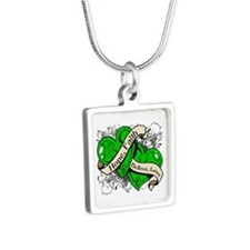 Neurofibromatosis Hope Hearts Silver Square Neckla
