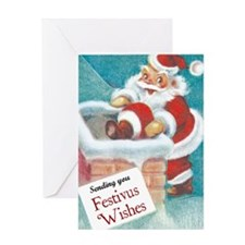 santa_entering_chimney Greeting Card