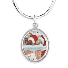 santa_entering_chimney Silver Oval Necklace
