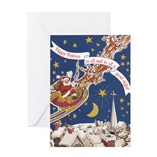 santa_flying_sleigh Greeting Card
